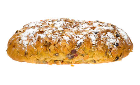 fresh christmas stollen bread isolated on a white background Stock Photo - 2160186