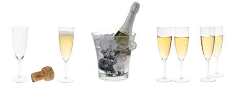 fresh graduate: champagne party set isolated on a white background Stock Photo