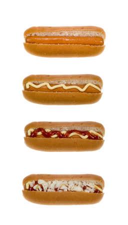 wiener dog: hot dog set isolated on a white background Stock Photo