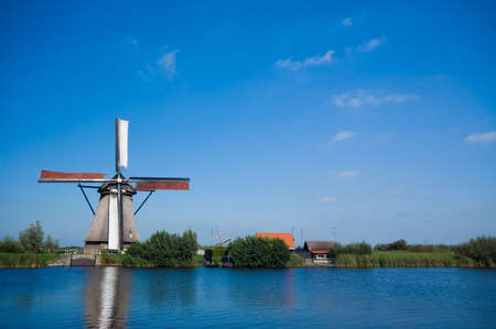 beautiful windmill landscape at kinderdijk in the netherlands Stock Photo - 2185600