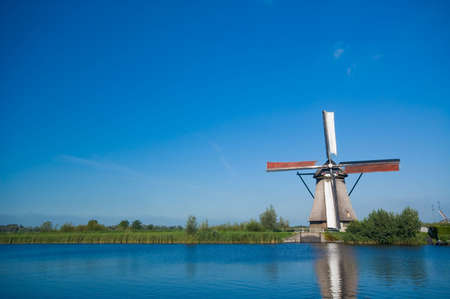 beautiful windmill landscape at kinderdijk in the netherlands Stock Photo - 2185601