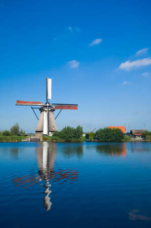 beautiful windmill landscape at kinderdijk in the netherlands Stock Photo - 2185598