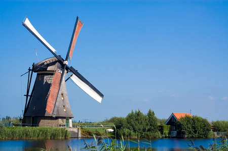 beautiful windmill landscape at kinderdijk in the netherlands Stock Photo - 2185602