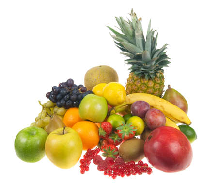 lots of fresh fruit isolated on a white background Stock fotó