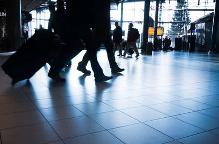 people traveling at the airport ( motion blur) Фото со стока - 2247115