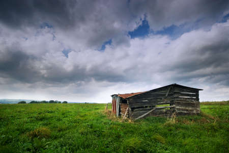 old shed in the ardennes, belgium photo