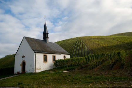 small church and vineyards along the mosel river in germany photo