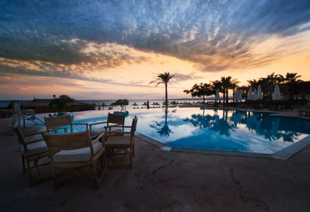 sharm el sheik: sunset and swimming pool at sharm el sheikh, egypt