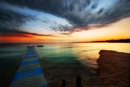 beautiful sunset in sharm el sheikh, egypt photo