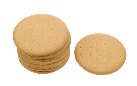 delicious tea biscuits isolated on a white background photo