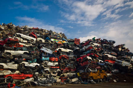 A lot of used cars in the junkyard photo