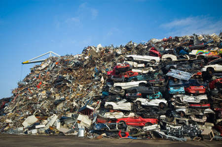 dismantled: A lot of used cars in the junkyard