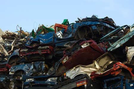 salvage yards: A lot of used cars in the junkyard