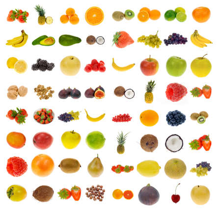 big collection of fruit and nuts, isolated on a white background, all pieces individually photographed in studio and no shade so its easy to select. Stock Photo