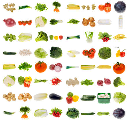 huge vegetable collection isolated on a white background, all pieces individually photographed in studio and no shade so its easy to select. photo