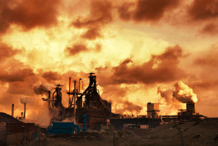 catalytic: industry and sunset at night Stock Photo