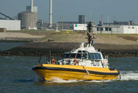 ijmuiden: a pilot ship in the harbor of IJmuiden in the Netherlands Stock Photo