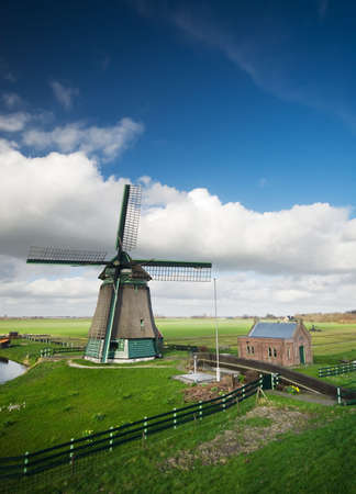 hoorn: beautiful windmill landscape near the IJsselmeer in the netherlands
