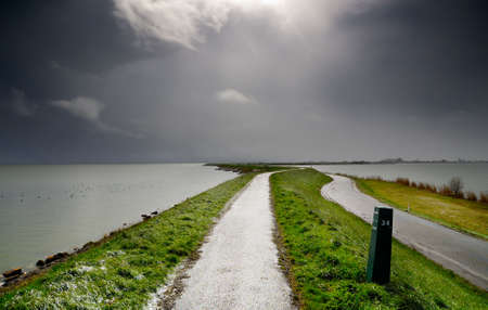 landscape scene in the netherlands with bad weather
