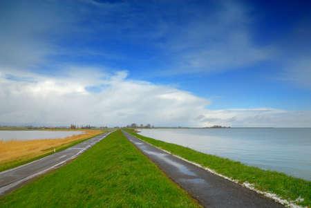 ijsselmeer: landscape in the netherlands (lake called the ijsselmeer to the right)
