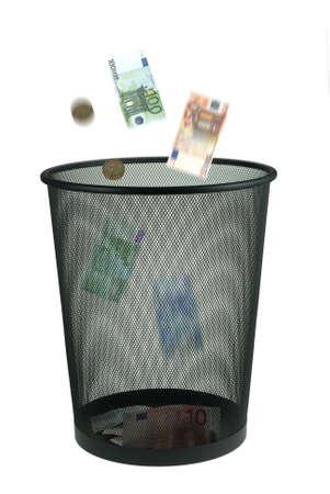 needless: conceptual image of trowing money away