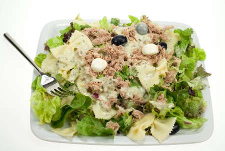 tunafish: fresh tunafish salad isolated on a white background