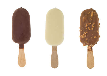 three different chocolate ice lollies isolated on a white background   photo