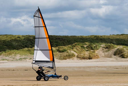 land sailing on the beach in summer