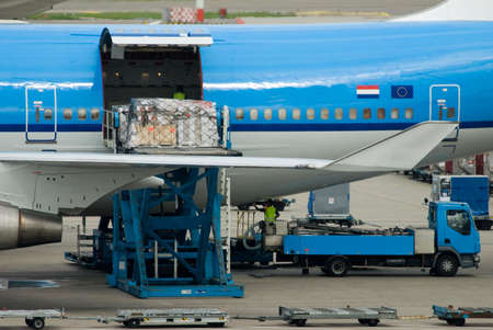 aircraft unloading cargo in the netherlands