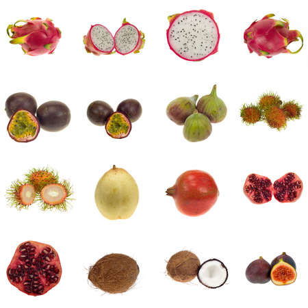 Collection of exotic fruits , isolated on white. XXL file. Please see individual images in my gallery photo