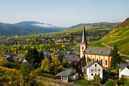 beautiful village and vineyards along the mosel river in germany photo