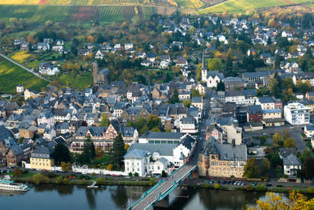 beautiful village and vineyards along the mosel river in germany( Traben-Trarbach) photo