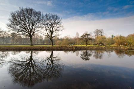 ijssel: Beautiful dutch landscape in winter  (Hattem Netherlands)
