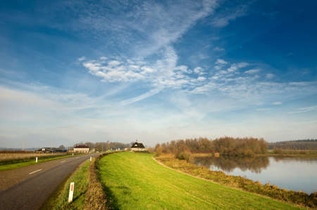 ijssel: country road in the netherlands