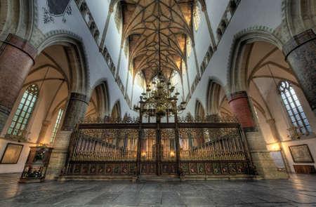 hdr: Hdr photo inside church (St bavo or grote kerk Haarlem, Netherlands
