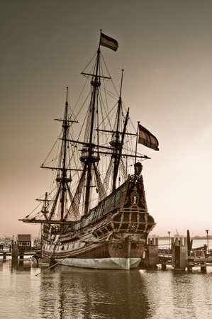 historic: old ship in the harbor