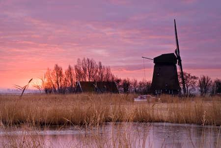 beautiful winter windmill landscape in the Netherlands Stock Photo - 4189315