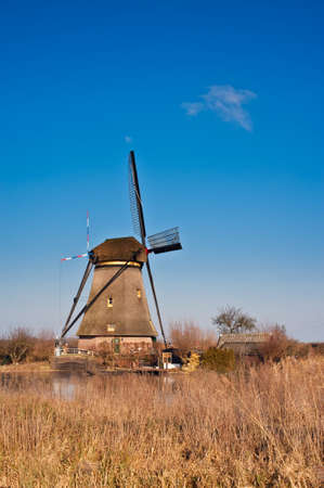 beautiful windmill landscape at kinderdijk in the netherlands near Rotterdam photo