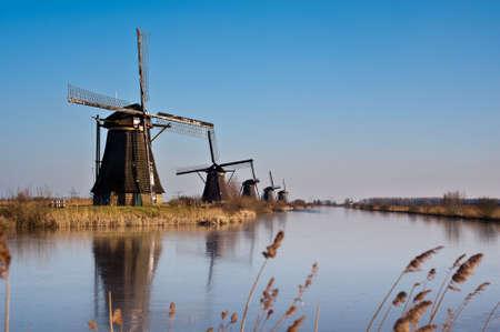 rotterdam: beautiful windmill landscape at kinderdijk in the netherlands near Rotterdam Stock Photo