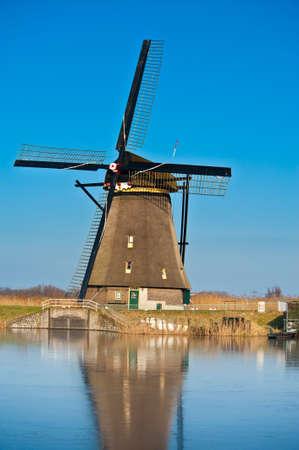 beautiful windmill landscape at kinderdijk in the netherlands near Rotterdam photo