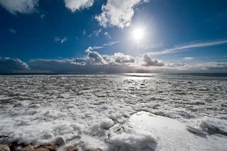 Frozen winter landscape in the netherlands photo