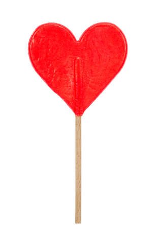 candy hearts: red heart shaped lollipop isolated on a white background Stock Photo
