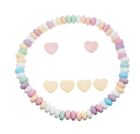 neutral face: Candy necklace neutral face isolated on a white background