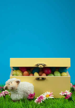 box of easter eggs and cute sheep in spring with blue sky photo
