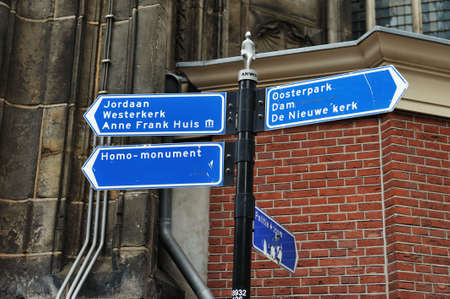 Information sign in Amsterdam Near the Anne Frank House Фото со стока - 5205118