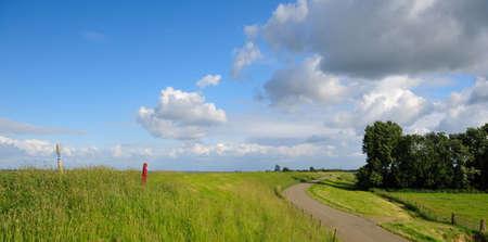 ijsselmeer: Typical Dutch landscape along the dike of the IJsselmeer in the Netherlands