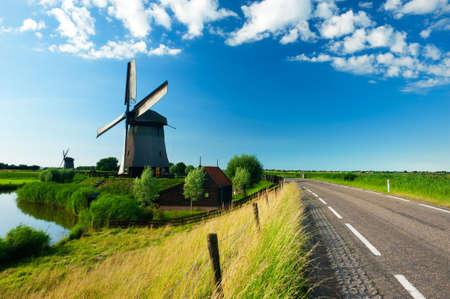 beautiful windmill landscape in the Netherlands, Schermerhorn, Schermer, Noord-Holland Stock Photo - 5369414