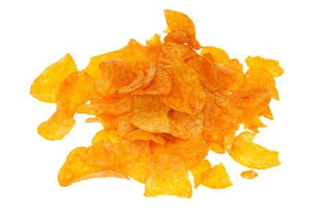 gease: paprika chips isolated on a white background