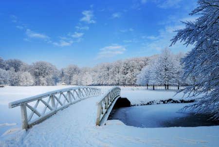 Prachtige winter landschap in Nederland (Elswout Overveen)  Stockfoto