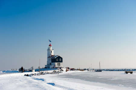 marken: Lighthouse in winter (Marken a small village near Amsterdam)